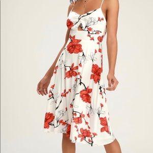 Blossom Babe White Floral Print Cutout Midi Dress